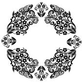 Richelieu embroidery stitches inspired lace pattern with floral elements: leaves swirl leaves in black and white in lace in oval baroque frame