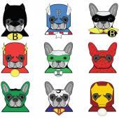 French bulldog  Dog Superheros  such as Superman Batman Robin Ironman Spiderman Green Lantern Captain  America  Flash Hulk icons