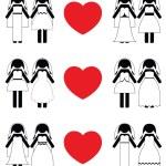 Постер, плакат: Lesbian brides icon set