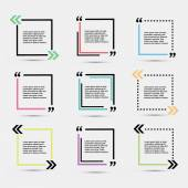 Quote blank template  Template vector eps 10 set Empty quote bubble  Quote form Quote citation blank template Blank template with print information design quotes Color  quote bubble
