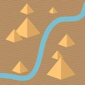 Egypt isometric background with pyramids and river Desert landscape Minimal design Use for your design Isolated elements Vector illustration