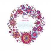 Színes kör alakú koszorú nyári virágok