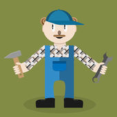 Service master Worker and tool wrench repair service equipment and spanner mechanic and workman vector graphic illustration