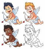 Set of cartoon vector cupids with bow and arrow - different nationalities