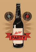 Vintage grunge style poster for retro party with a beer bottle Vector illustration