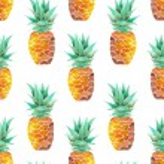 Постер, плакат: A pattern with yellow watercolor pineapples