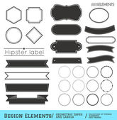 Vector set of design elements geometric tapes and labels