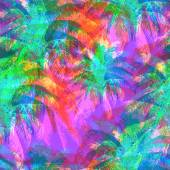 tropical pattern depicting pink and purple palm trees with  with yellow highlights reflections on a turquoise background in crazy colors