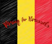 Belgian flag with with embroidery effect Phrase Pray for Brussels lettering Flat graphic design elements Banner or poster with anti terrorism concept