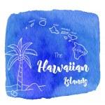 Постер, плакат: Watercolor Hawaiian tropical design
