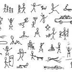 Постер, плакат: Set of stick figures in motions