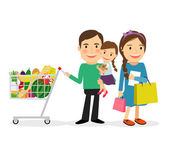 Family shopping concept Happy family with shopping bags and shopping cart colorful icon on white background Vector illustration