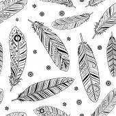 Vintage ethnic boho feathers pattern on white background
