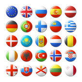 World flags round badges magnets Europe Vector illustration
