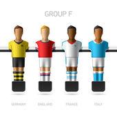 Calcio balilla, giocatori di calcio balilla. Campionato europeo di calcio, gruppo F - Germania, Inghilterra, Francia, Italia. Vector