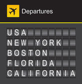 USA flip alphabet airport departures USA New York Boston Florida California