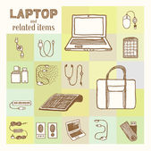 Laptop and related accessories collection Vintage style hand drawn pen and ink  Vector clip art set for flyer business card of electronics shop or notebook store Retro design element