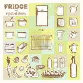 Fridge and related items Vintage style hand drawn pen and ink  Vector clip art set for flyer business card of electronics shop or refrigerator store Retro design element