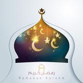 Ramadan kareem arabic calligraphy glow crescent and star mosque dome