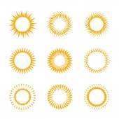 Set vector yellow symbol of sun