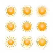 Set of yellow symbols of sun