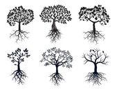 Insieme degli alberi neri e radici. Elementi di vettore