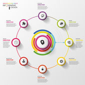Infographic Business concept Colorful circle with icons Vector