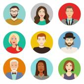 Set of avatar flat design icons Characters for web Vector illustration