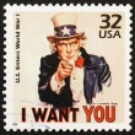 Постер, плакат: Uncle Sam on US stamp