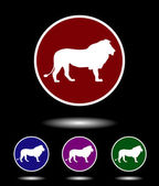 Vector icon logo set 3 in 1 with modern vintage white lion on red blue violet and green background isolated on black highlighted