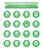 Ecology Icons Set on Green Round Buttons Digital background vector logotypes set