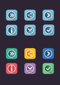 Flat icon set Navigation buttons Digital background vector illustration