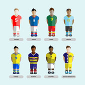 Football club Soccer Players silhouettes Computer game Soccer team players set Sports infographic Digital background vector illustration
