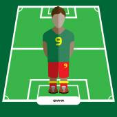 Football Soccer Player silhouette isolated on the play field Computer game Ghana Football club player Digital background vector illustration