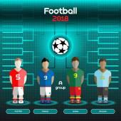 Football Players Scoreboard Vector digital illustration Soccer tournament sheet Visual graphic presentation Austria France Ghana Uruguay Teams