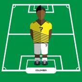 Football Soccer Player silhouette isolated on the play field Computer game Colombia Football club player Digital background vector illustration