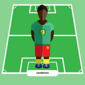 Football Soccer Player silhouette isolated on the play field Computer game Cameroon Football club player Digital background vector illustration