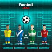 Football Players Scoreboard Vector digital illustration Soccer tournament sheet Visual graphic presentation Brazil Guatemala Scotland South Korea Teams