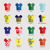 Football Soccer Team Wear Soccer club t-shirt set Sports infographic Digital background vector illustration