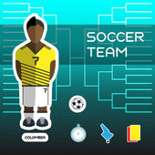 Soccer Team - Colombia Football Players Scoreboard Vector digital illustration Soccer tournament sheet Visual graphic presentation