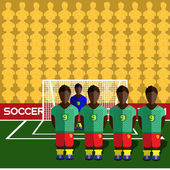 Cameroon Football Club Soccer Players Silhouettes Computer game Soccer team players big set Sports infographic Football Teams in Flat Style Goalkeeper Standing in a Goal