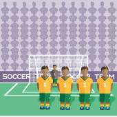 Australia Football Club Soccer Players Silhouettes Computer game Soccer team players big set Sports infographic Football Teams in Flat Style Goalkeeper Standing in a Goal Vector illustration