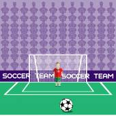 Football Club Soccer Player Silhouette Computer game Soccer player big set Sports infographic Goalkeeper in Flat Style Standing in a Goal Vector illustration