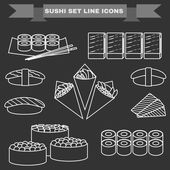 Big icon set of sushi Different sushi types platter with chopsticks Sushi Rolls Salmon Tuna Sushi Cones in Nori Sheets with Caviar Avocado filling Black and white background vector illustration