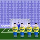 Sweden Football Club Soccer Players Silhouettes Computer game Soccer team players big set Sports infographic Football Teams in Flat Style Goalkeeper Standing in a Goal Vector illustration