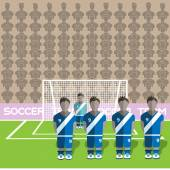 Guatemala Football Club Soccer Players Silhouettes Computer game Soccer team players big set Sports infographic Football Teams in Flat Style Goalkeeper Standing in a Goal Vector illustration
