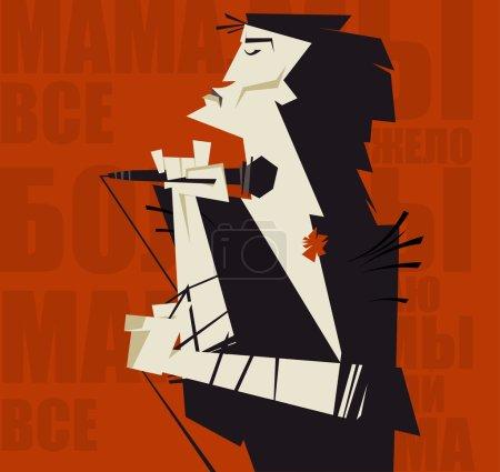Постер, плакат: Viktor Tsoi, холст на подрамнике