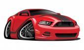 Červené svalové auto kreslený obrázek