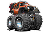 Awesome cartoon illustration of a lifted 4x4 Off Road vehicle cartoon illustration orange with huge tires big rims lots of gear ready for the dirt Hand-drawn and Illustrated by Jeff Hobrath