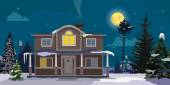 Winter landscape with big house and forest on background. Night, moon, trees, clouds. Vector cartoon illustration